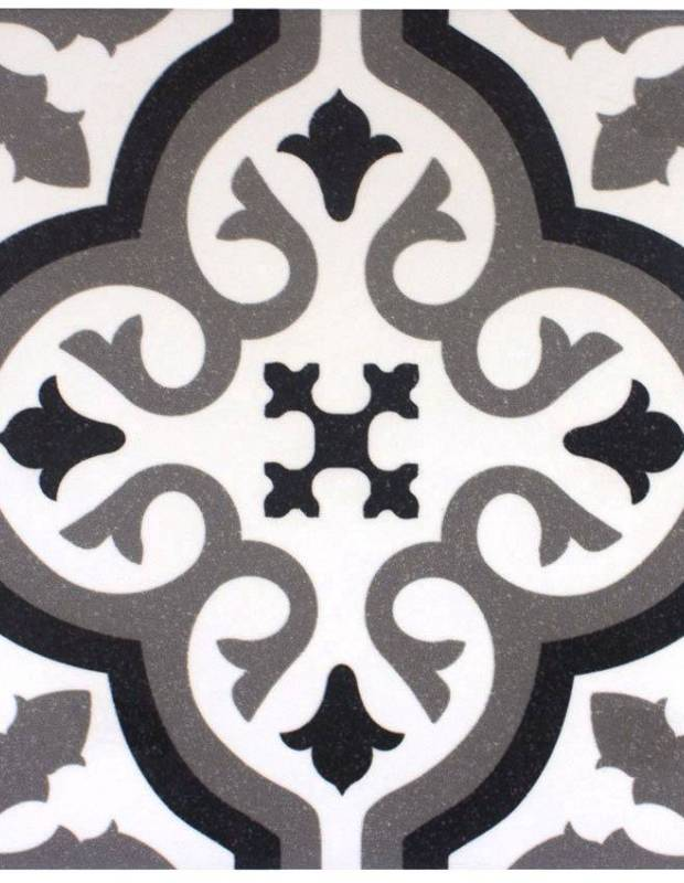 Carrelage imitation carreau ciment sol et mur blanc 20 x 20 cm - FL0115002
