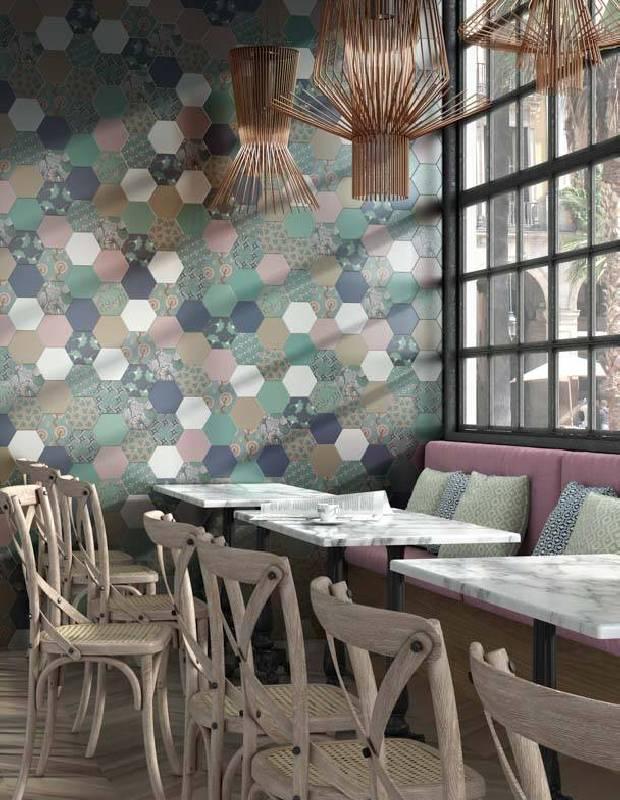Carrelage hexagonal, la tomette grès cérame good vibes - GO0812002