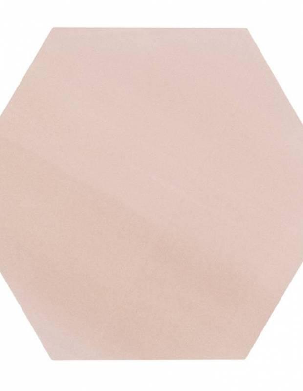 Carrelage uni hexagonal rose en grès cérame de 15 mm d'épaisseur