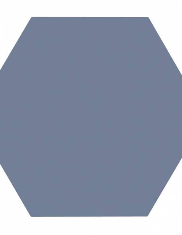 Carrelage uni hexagonal bleu en grès cérame de 15 mm d'épaisseur