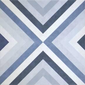 Carrelage design vintage decor géometrique blanc et bleu 20x20cm grès cérame - TE5104001