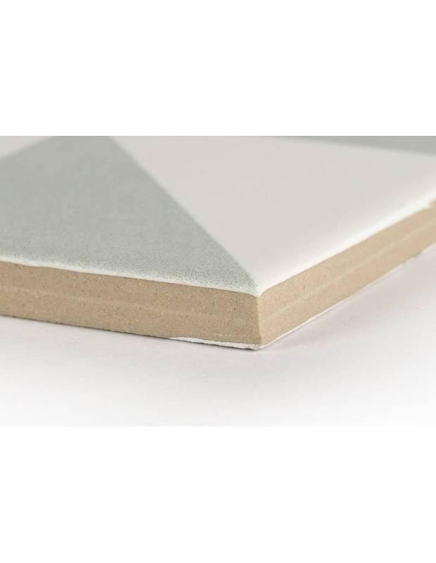 Carrelage grès cérame 25 x 25 cm ancien à motifs géométriques gris et blancs - DO1713007